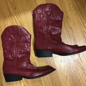 Rampage Wellington Cowboy Boots Burgundy